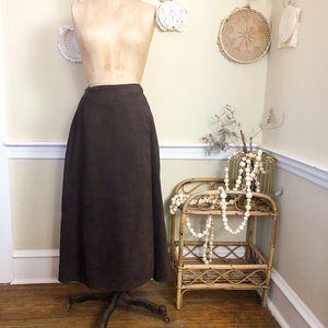 Vintage 90s Brown Microsuede Wrap Pencil Skirt 12